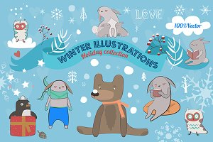 Winter illustrations collection