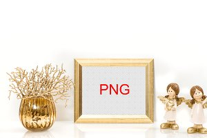 PNG Golden frame. Christmas Angel
