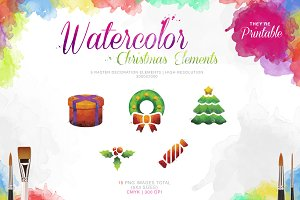Watercolor Christmas Elements Pack