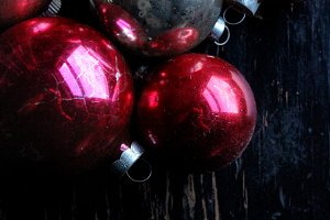 Vintage Red & Pink Holiday Ornaments