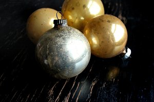 Vintage Gold Holiday Ornaments