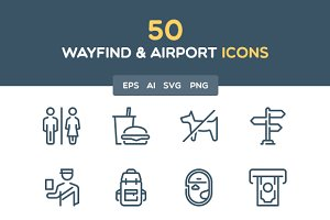 Wayfind and airport icon set