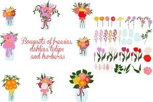 Bouquets of freesia, dahlias, tulips