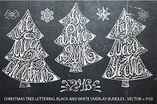 Christmas tree lettering set