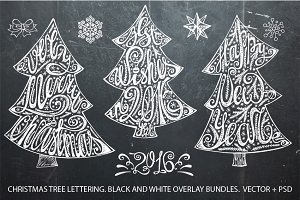 Christmas tree lettering set