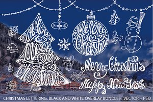 Merry Christmas tree lettering set