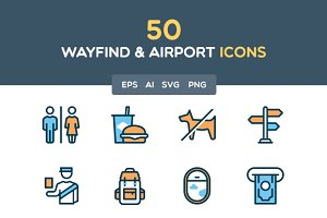 Wayfind and Airport filled icon set