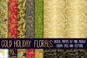 Faux Gold Foil Christmas Patterns