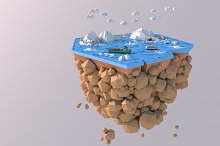 Low Poly Artic Glacier Animal Island by  in 3D