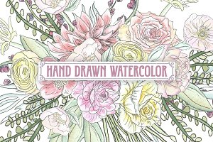 Pastel Watercolor Flower Clipart