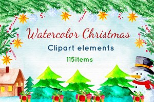 Watercolor Christmas Pack