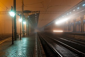 Railway station at night. Railroad