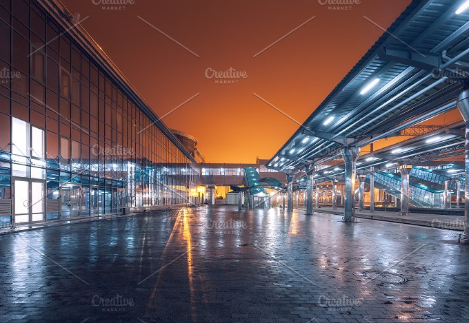 Railway station at night. Railroad - Transportation