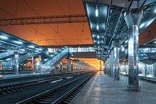 Railway station at night. Railroad