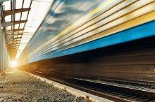High speed passenger train. railroad