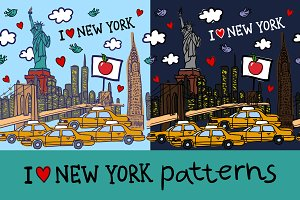 New York seamless patterns