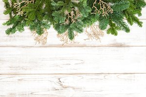 Christmas tree branches with deco