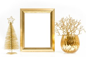 Golden picture frame Christmas deco