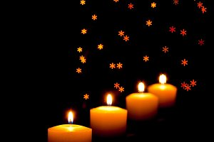 Candles with snowflake effect