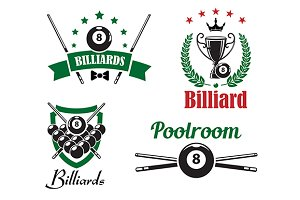 Billiards and poolroom logo and embl