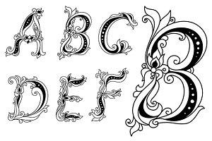 Outline floral font A, B, C, D ,E, F