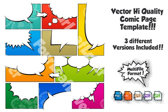 comic book template powerpoint - color comic book page template set3 illustrations