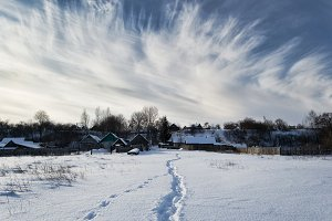Сold winter day in the village