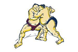Japanese Sumo Wrestler Wrestling Dra