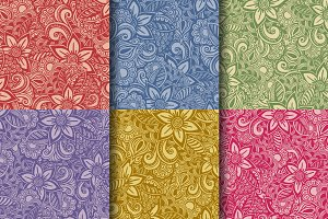 Set of 6 flower, floral patterns
