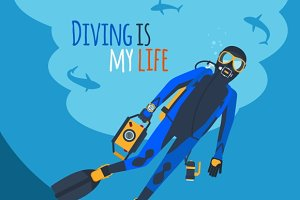 Diver and Diving Equipment