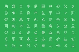 70 Park Outline Icons Set