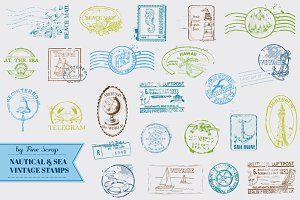 36 Nautical and Sea Vintage Stamps