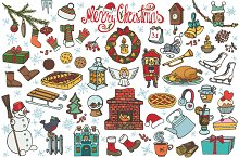 Christmas doodle symbols