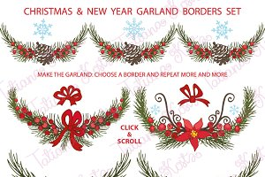 Christmas borders,garlands set