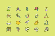 Symbols Sciences Set of Lines Stroke