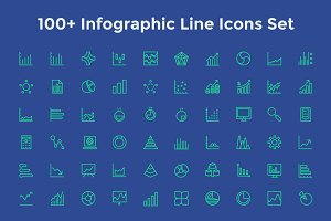 100+ Infographic Line Icons Set