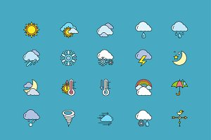 Symbols weather Set of Colorful