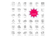 Set of E-commerce Thin, lines icons
