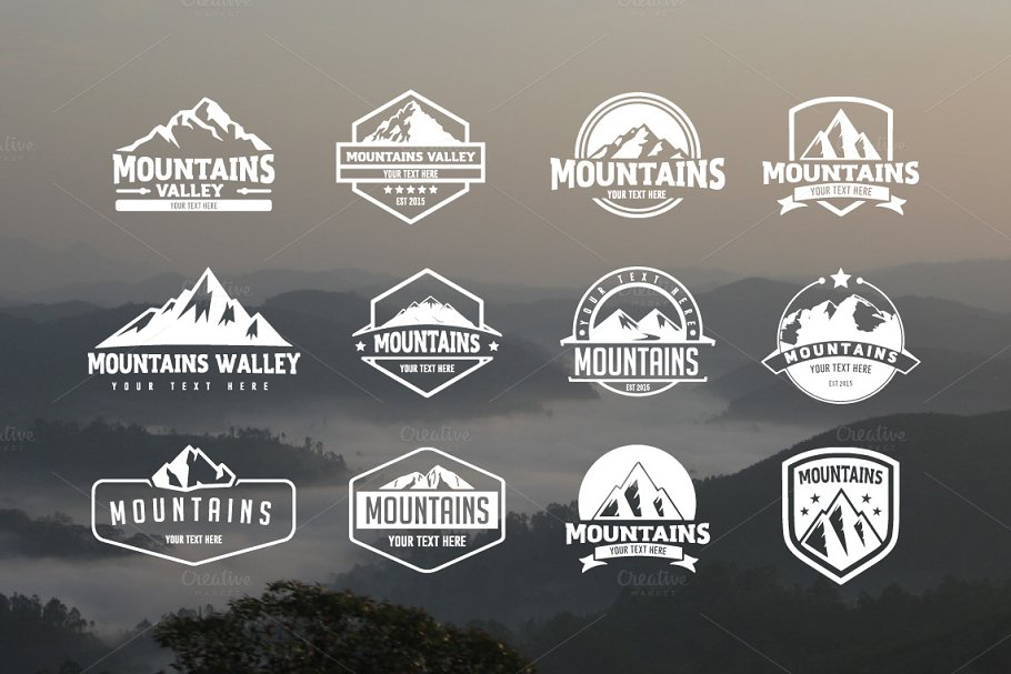 Pack of 12 mountains logo, 62 icons