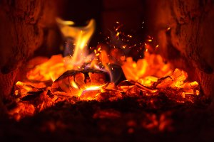 Burning flame fire in fireplace