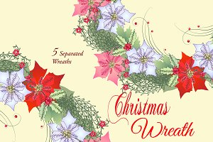 Christmas Wreath with Poinsettia