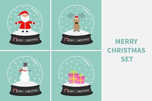 Merry Christmas greeting card set.