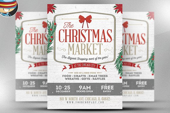 rustic christmas flyer template flyer templates on creative market. Black Bedroom Furniture Sets. Home Design Ideas