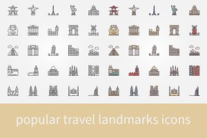 Popular travel landmarks line icons