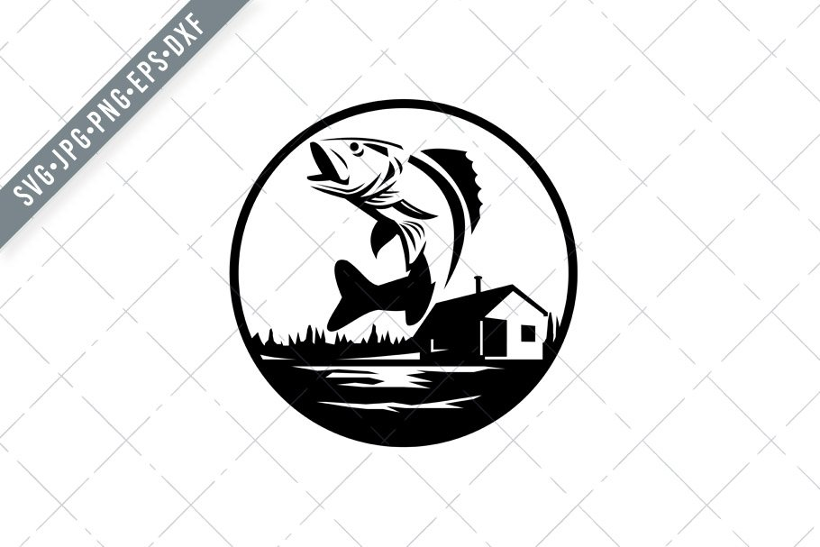 Download Walleye Fish Jumping On Lake Svg Pre Designed Illustrator Graphics Creative Market