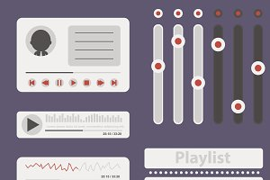 Flat music elements pack