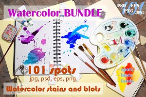 Watercolor spots & backdrops BUNDLE