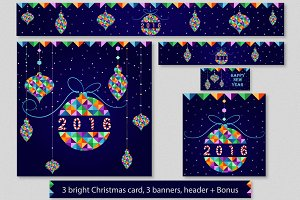 Set of Christmas cards, banners