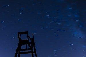 Lifeguard chair at night