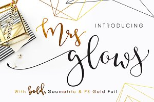 Mrs Glows Modern Font With Extras